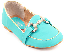 Cute Walk Sea Green Plain Belly Shoes - Shinny Buckle