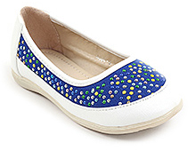Cute Walk Embedded Beads Slip On Shoes - Blue