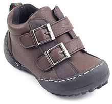 Cute Walk Dual Buckle Strap Shoes - Dark Brown