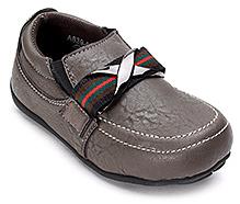 Cute Walk Grey Faux Leather Semi Formal Shoes