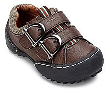 Cute Walk Dark Brown Faux Leather Shoes - Dual Buckle Strap