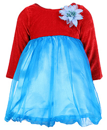 Softouch Full Sleeves Frock With Flower Applique - Red And Blue