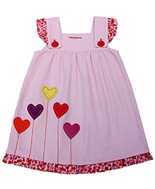 Campana Flutter Sleeves Frock - Heart Shaped Patch Work