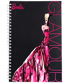 Barbie Spiral Binding Black Glamour Print Note Book - 160 Pages - 22 X 15.2 X 1 Cm