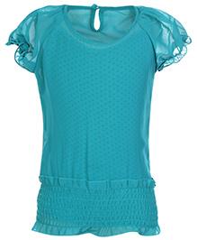Gini & Jony Puff Sleeves Plain Top With Polka Dots Inner - Teal Blue
