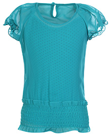 Gini & Jony Puff Sleeves Plain Top With Polka Dots Inner - Teal Blue