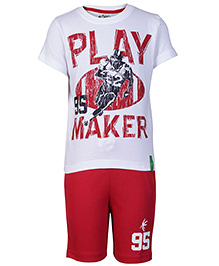 Palm Tree White Half Sleeves T Shirt And Bermuda Set - Play Maker Print