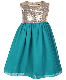 Gini & Jony Green Sequins Sleeveless Party Frock