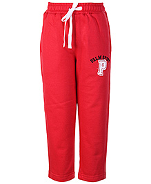 Palm Tree Red Plain Track Pant With Fastening