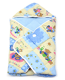 Little's Blue Happy Bear Print Hooded Wrapper - 68 X 71 Cm
