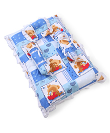 Babyhug Teddy Print Frilled Baby Bedding Set - Blue