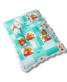 Babyhug Teddy Print Frilled Baby Bedding Set  -  Green