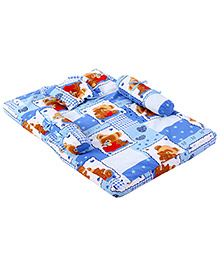Babyhug Teddy Print Baby Bedding Set - Blue