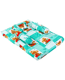 Babyhug Teddy Print Baby Bedding Set - Green