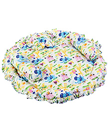Fab N Funky Animal Print Baby Bedding Set Round - Blue