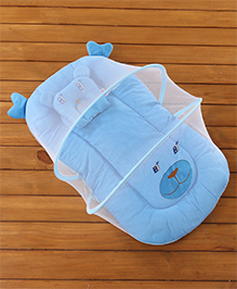 Babyhug Velvet Baby Bedding Set With Mosquito Net - Blue - 76 X 45 X 35 Cm