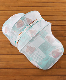 Teddy Print Baby Bedding Set With Mosquito Net -  Green
