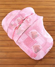 Babyhug Teddy Print Baby Bedding Set With Mosquito Net - Pink - 92 X 46 X 40 Cm