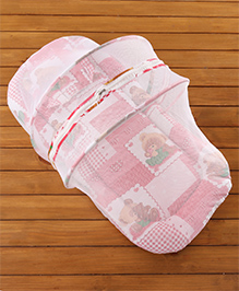 Teddy Print Baby Bedding Set With Mosquito Net - Red