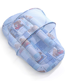 Babyhug Teddy Print Baby Jumbo Bedding Set With Mosquito Net - Blue - 90 X 46 X 40cm