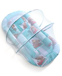 Teddy Print Baby Jumbo Bedding Set With Mosquito Net -  Green