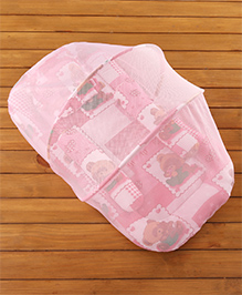 Babyhug Teddy Print Baby Jumbo Bedding Set With Mosquito Net - Pink