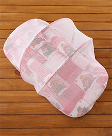 Babyhug Teddy Print Baby Jumbo Bedding Set With Mosquito Net - Red