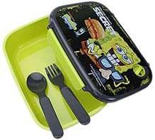 Spongebob Lunch Box With Spoon - Green - 12 X 17.5 X 8 Cm