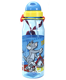 Tom And Jerry Slide Cap Straw Water Bottle Blue - 700 Ml