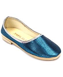 Cute Walk Plain Shinny Traditional Mojari Shoes - Blue