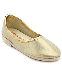 Cute Walk Plain Shinny Traditional Mojari Shoes - Golden