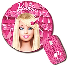 Barbie Combo Of Wireless Mouse And Mouse Pad - 3 Years+