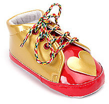 Isabelle Golden And Red Lace Up Booties With Heart Applique