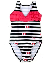 Barbie Black Swimsuit With Stripes Print