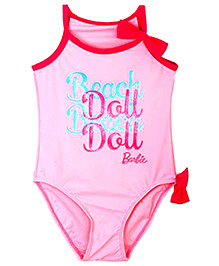Barbie Pink Beach Doll Print Swimsuit - 2 to 3 Years