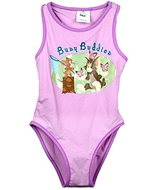 Tom And Jerry Purple Busy Buddies Print Swimsuit