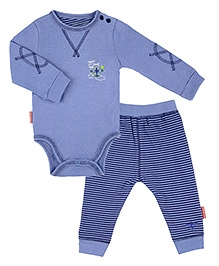 Kushies Baby Blue Full Sleeves Onesies With Legging 0 Months, Cute and adorable organic cotton onesies with legging for boys