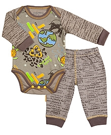 Kushies Baby Mocha Graffiti Print Full Sleeves Onesies And Legging 0 Months, Soft organic cotton rich textured  onesies with legging for boys