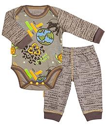 Kushies Baby Mocha Graffiti Print Full Sleeves Onesies And Legging
