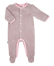 Kushies Baby Pink Full Sleeves Sleep Suit Romper - Stripes Print