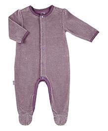 Kushies Baby Purple Full Sleeves Sleep Suit Romper - Stripes Print
