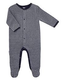 Kushies Baby Navy Blue Full Sleeves Sleep Suit Romper - Stripes Print