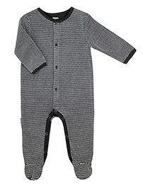 Kushies Baby Black Full Sleeves Sleep Suit Romper - Stripes Print