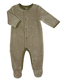 Kushies Baby Green Full Sleeves Sleep Suit Romper - Stripes Print
