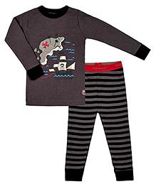 Kushies Baby Full Sleeves T Shirt and Legging Set - Treasure Map Print