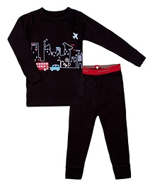 Kushies Baby Full Sleeves T Shirt and Legging Set - Car Print