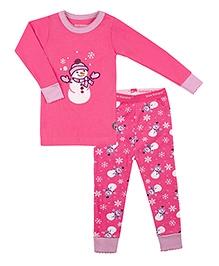Kushies Baby Full Sleeves T Shirt and Legging Set - Snowman Print