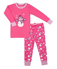 Kushies Baby Full Sleeves T Shirt and Legging Set - Snowman Print