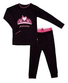 Kushies Baby Full Sleeves T Shirt and Legging Set - Princess Print