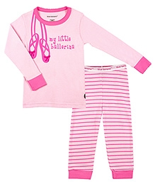 Kushies Baby Full Sleeves Top and Pyjama Set - My Little Ballerina Print